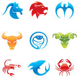 Animal Logos. Glossy logos of 9 different animals in various colours stock illustration