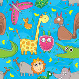 Animal Look Seamless Pattern. Illustration animal look animal flowers seamless pattern Stock Images