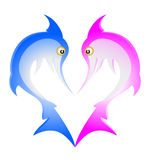 Animal love. Drawing blue and pink sharks Royalty Free Stock Photo