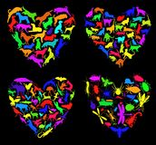 Animal love. Set of editable vector heart shapes made from animals Royalty Free Stock Photos