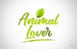 animal lover green leaf word on white background stock images