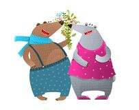 Bear Couple Presenting Bunch of Flowers Stock Photos