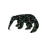 Animal mammifère de silhouette de couleur de fourmilier Photo stock