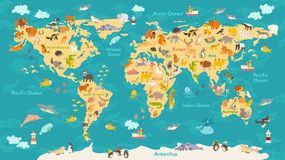 Animal map for kid. World vector poster for children, cute illustrated Royalty Free Stock Images