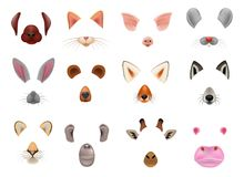 Animal mask vector animalistic masking face of wild characters bear wolf rabbit and cat or dog on masquerade. Illustration set of carnival masked costume monkey stock illustration