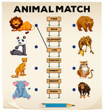 Animal matching with pictures and words Royalty Free Stock Photo
