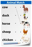 An animal matching worksheet