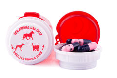 Animal medication with bottles. On white background Royalty Free Stock Photos