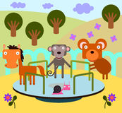 Animal merry go round. An illustration of animals playing in a merry go round Royalty Free Stock Image