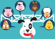 Animal mignon dans la bande dessinée plate de ferme Images stock