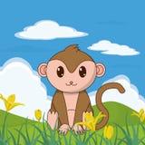 Animal mignon de singe dans le paysage Images libres de droits