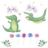 Animal mignon numérique de clipart (images graphiques) de crocodile et fleurs pour la carte, affiches, illustration libre de droits