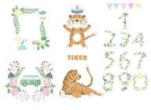 Animal mignon numérique de clipart (images graphiques) de tigre et fleurs pour la carte, affiches, sur le fond blanc pour la célé illustration de vecteur