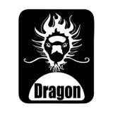 Chinese calendar animal monochrome logotype dragon head vector illustration