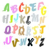 Animal multicolor alphabet with ears and tails vector illustration