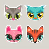 Animal muzzles in flat style - cat, owl, bunny, fox royalty free illustration