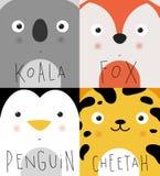 Animal muzzles koala, fox, penguin, cheetah Royalty Free Stock Image