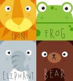 Animal muzzles lion, frog, elephant, bear Stock Photos
