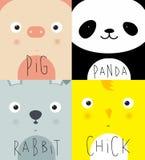 Animal muzzles pig, panda, rabbit, chick Royalty Free Stock Photo