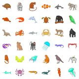 Animal in nature icons set, cartoon style Stock Image