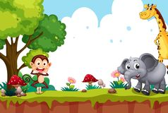 Animal in nature landscape. Illustration royalty free illustration