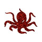 Animal nautique de silhouette de couleur de poulpe Image stock