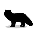 Animal noir arctique de silhouette de Fox Illustration Libre de Droits