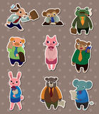 Animal office worker stickers Stock Image