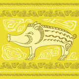 Animal  ornamental pig. Vector background Stock Images