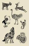 Animal ornaments set. Animal drawing : goat deer, ostrich, dog, scorpion, wolf, and squirrel with floral ornament decoration. Black color, Easy to change color Stock Photos