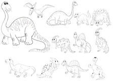 Animal outline for different types of dinosaurs Stock Photo