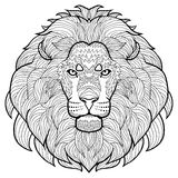 Animal outline drawing. Anti-stress coloring  in the head of a beautiful lion. Stock Photos