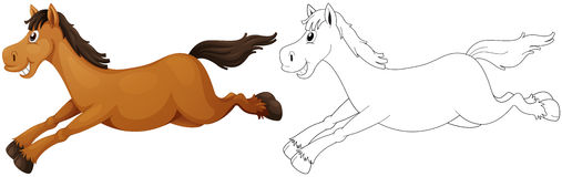 Animal outline for pony running Stock Photos