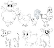 Animal outlline for different types of farm animals. Illustration Royalty Free Stock Photography