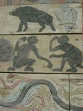 Animal painting on wood old style Stock Photography