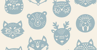 Animal paper cut seamless pattern Stock Image