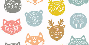 Animal paper cut seamless pattern Royalty Free Stock Photo