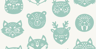 Animal paper cut seamless pattern Royalty Free Stock Images