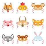 Animal Paper Masks Set Of Items Stock Photography