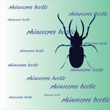 Animal pattern: a dark blue silhouette of a rhinoceros beetle on a green background. Clear beautiful symmetrical stencil of a large insect. Stylish youthful Stock Image