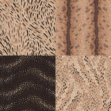 Animal patterns. Animal fur and reptile skin. A set of abstract seamless patterns Royalty Free Stock Photos