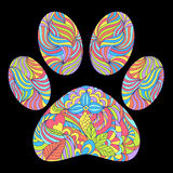 Animal paw print on black background. Vector illustration of abstract animal paw print on black background Stock Photo