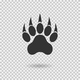Animal paw print with claws. Tiger paw with shadow. Web icon. Footprint. Vector illustration  on transparent background Royalty Free Stock Images