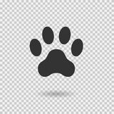 Animal paw print. Dog paw with shadow. Web icon. Footprint. Vector illustration isolated on transparent background Royalty Free Stock Images