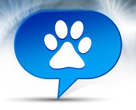 Animal paw print icon blue bubble background. Animal paw print icon isolated on blue bubble background vector illustration