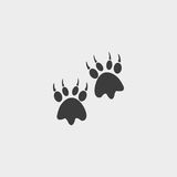 Animal paw print icon in a flat design in black color. Vector illustration eps10 Stock Image