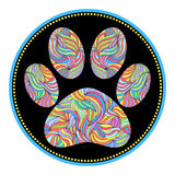 Animal paw print. Vector illustration of abstract animal paw print on black background Royalty Free Stock Image