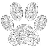 Animal paw print on white background. Vector illustration of abstract animal paw print on white background.Coloring page for adult Royalty Free Stock Image