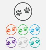 Animal paw prints icons paw, web icon. vector Royalty Free Stock Image
