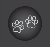 Animal paw prints icons, web icon. black button Royalty Free Stock Image